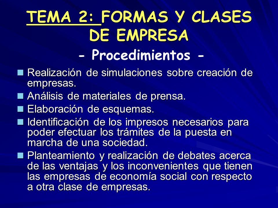 TEMA 2: FORMAS Y CLASES DE EMPRESA Realización de simulaciones sobre creación de empresas. Realización de simulaciones sobre creación de empresas. Aná
