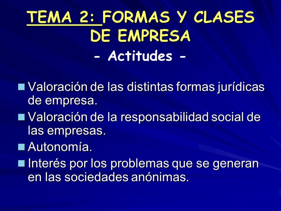 TEMA 2: FORMAS Y CLASES DE EMPRESA Valoración de las distintas formas jurídicas de empresa. Valoración de las distintas formas jurídicas de empresa. V