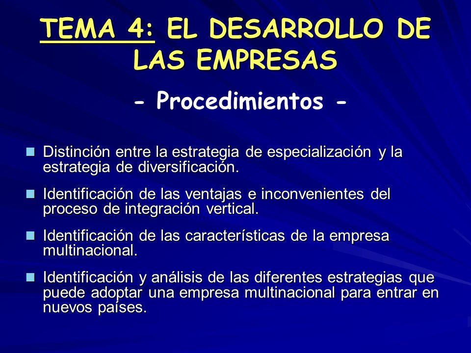 TEMA 4: EL DESARROLLO DE LAS EMPRESAS Distinción entre la estrategia de especialización y la estrategia de diversificación. Distinción entre la estrat