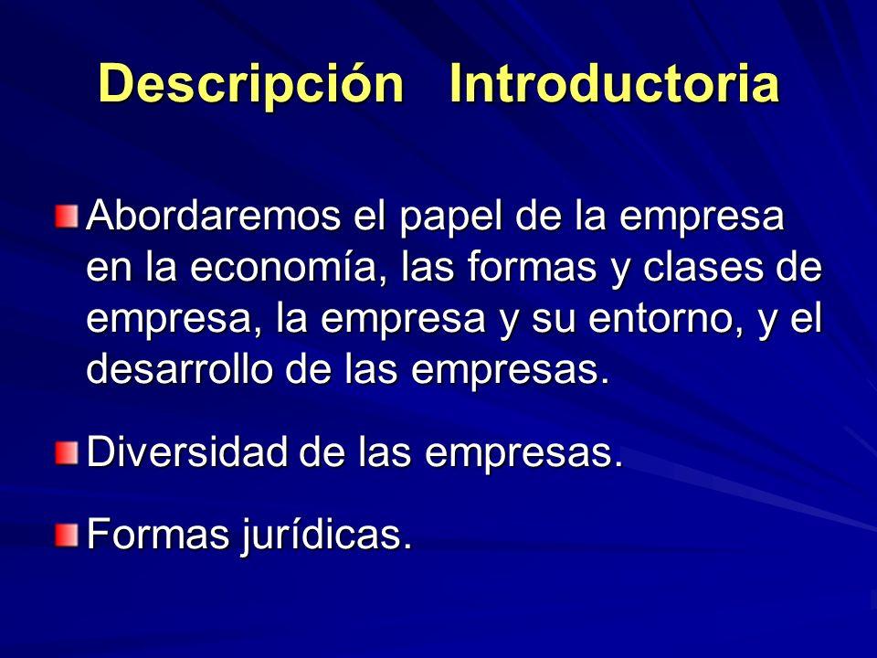Descripción Introductoria Abordaremos el papel de la empresa en la economía, las formas y clases de empresa, la empresa y su entorno, y el desarrollo