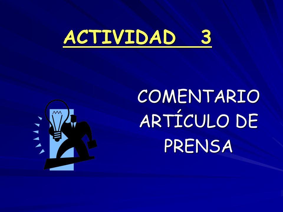 ACTIVIDAD 3 COMENTARIO ARTÍCULO DE PRENSA