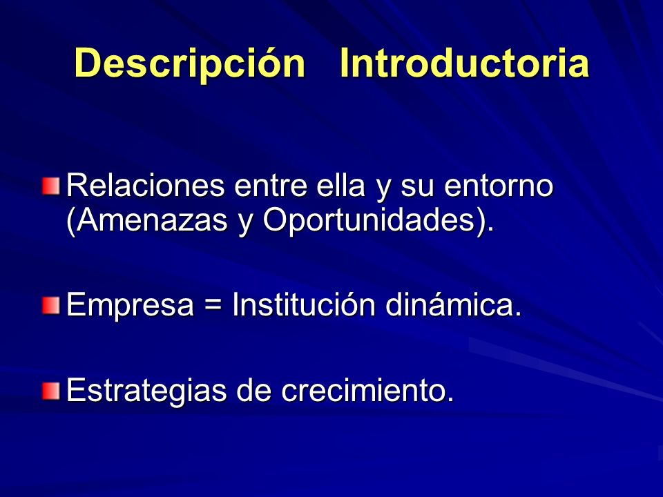 Descripción Introductoria Relaciones entre ella y su entorno (Amenazas y Oportunidades). Empresa = Institución dinámica. Estrategias de crecimiento.