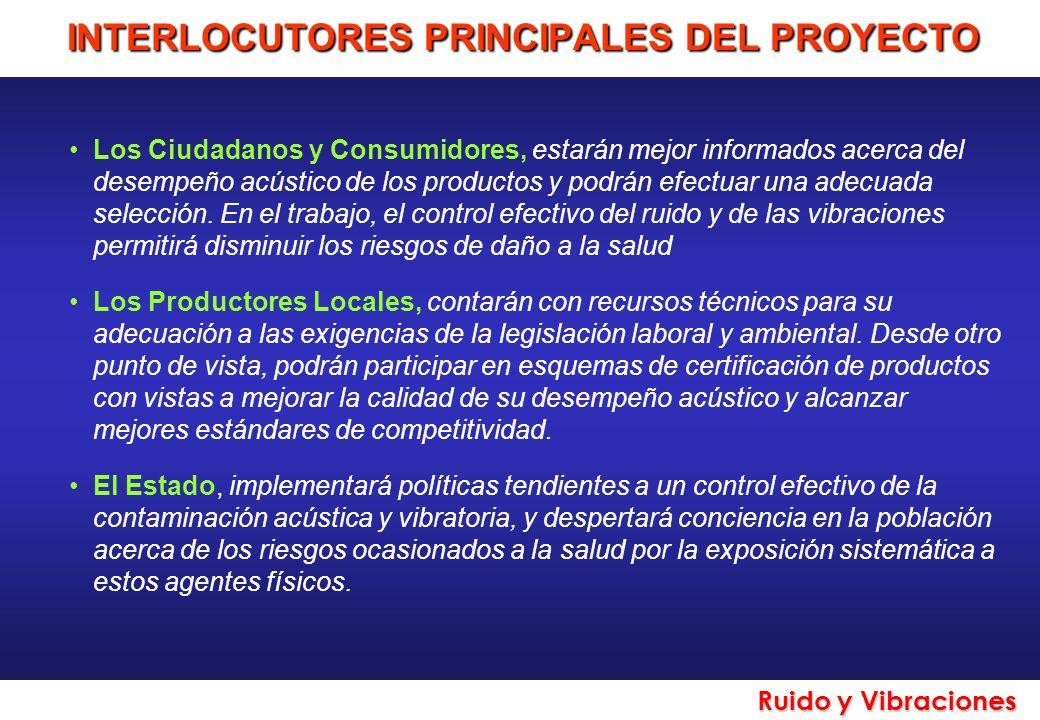 Ruido y Vibraciones INTERLOCUTORES PRINCIPALES DEL PROYECTO Los Ciudadanos y Consumidores, estarán mejor informados acerca del desempeño acústico de l