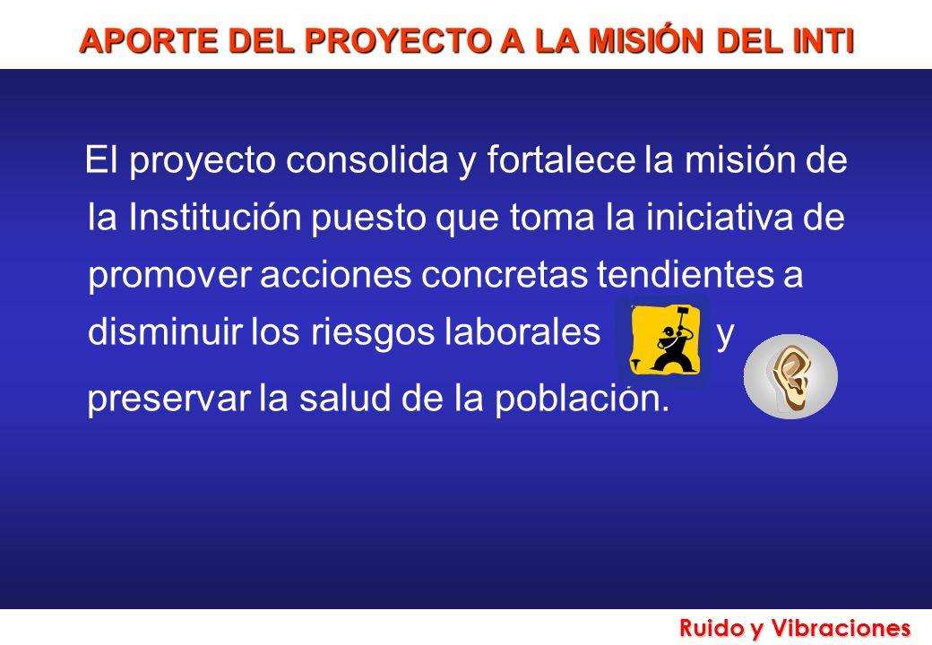 Ruido y Vibraciones APORTE DEL PROYECTO A LA MISIÓN DEL INTI El proyecto consolida y fortalece la misión de la Institución puesto que toma la iniciati