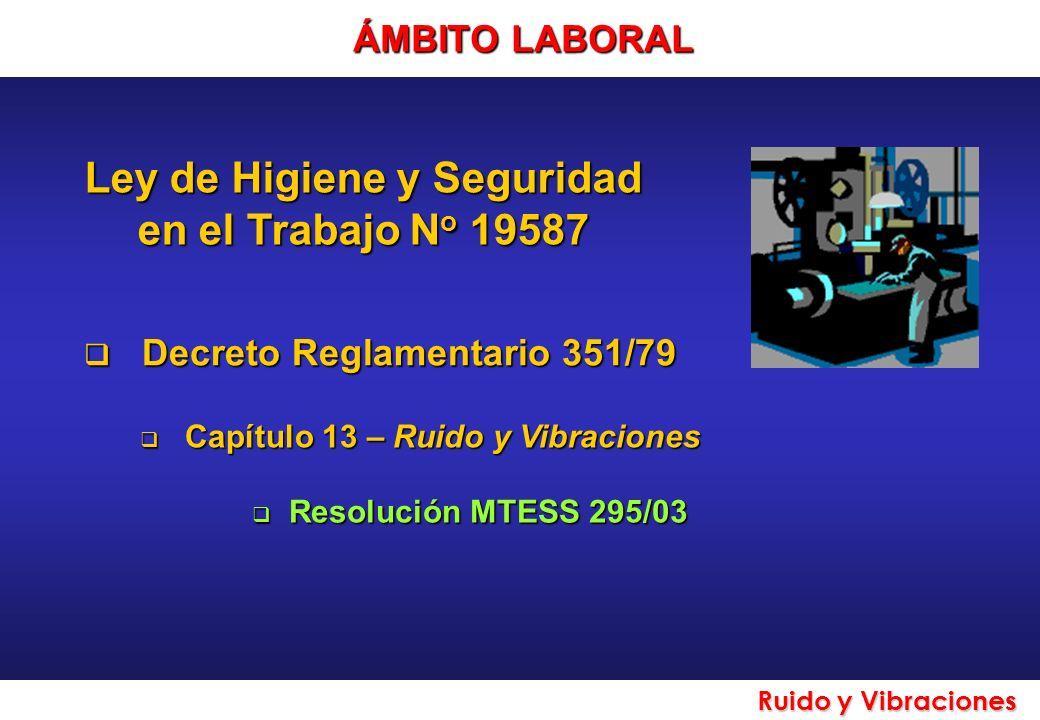 Ley de Higiene y Seguridad en el Trabajo N o 19587 Decreto Reglamentario 351/79 Decreto Reglamentario 351/79 Capítulo 13 – Ruido y Vibraciones Capítul