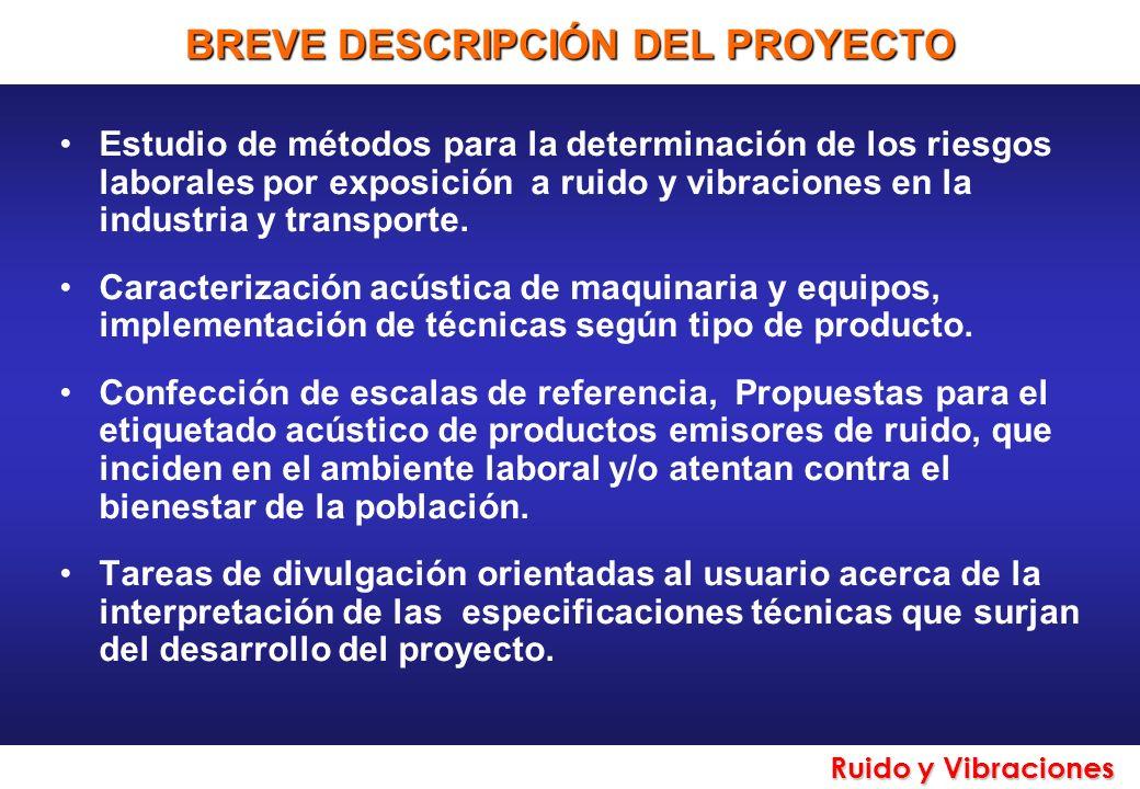 Ruido y Vibraciones ACTORES EXTERNOS INVOLUCRADOS Superintendencia de Riesgos del Trabajo, Ministerio de Trabajo y Seguridad Social.