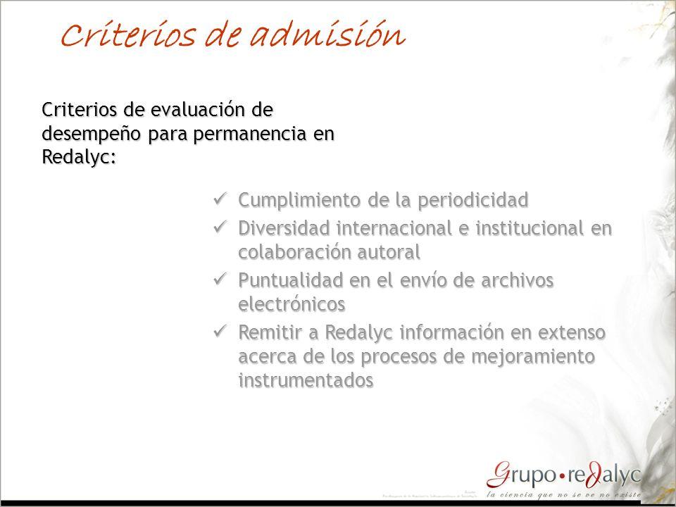 Criterios de admisión Criterios de evaluación de desempeño para permanencia en Redalyc: Cumplimiento de la periodicidad Cumplimiento de la periodicida