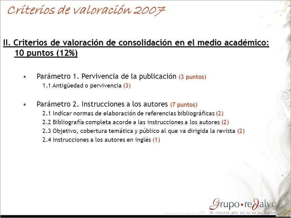 II. Criterios de valoración de consolidación en el medio académico: 10 puntos (12%) (3 puntos)Parámetro 1. Pervivencia de la publicación (3 puntos) (3