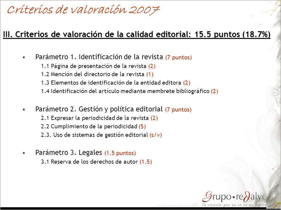 III. Criterios de valoración de la calidad editorial: 15.5 puntos (18.7%) (7 puntos)Parámetro 1. Identificación de la revista (7 puntos) (2) 1.1 Págin