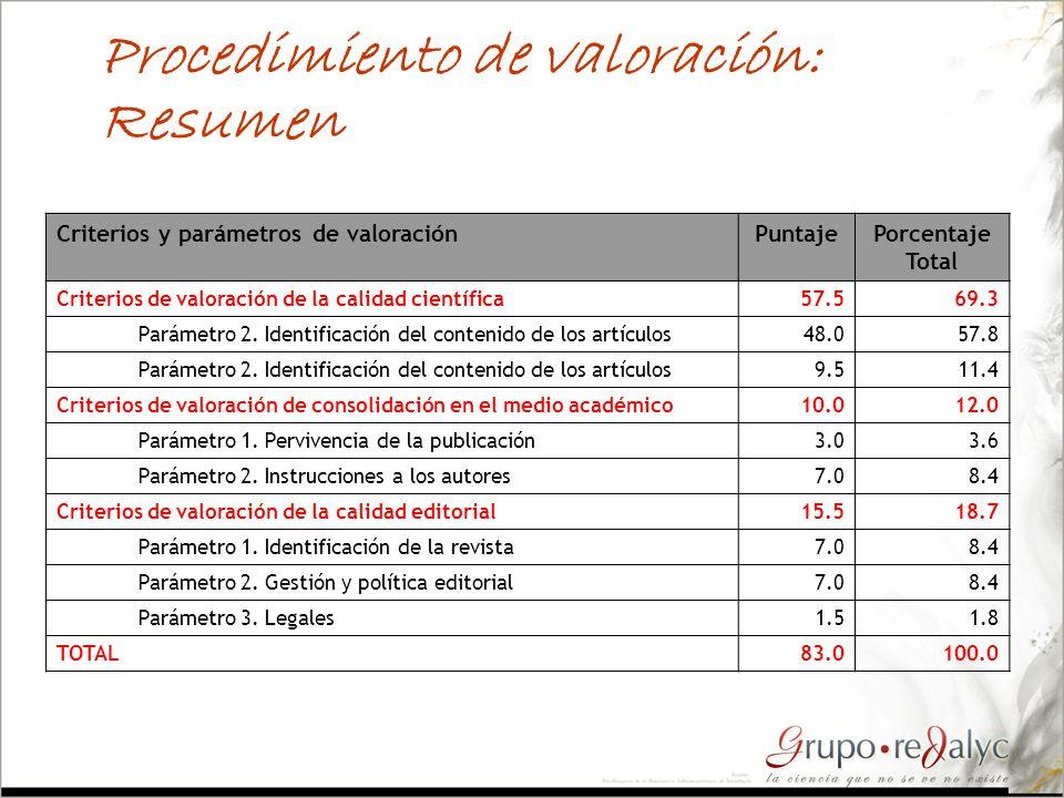 Procedimiento de valoración: Resumen Criterios y parámetros de valoraciónPuntajePorcentaje Total Criterios de valoración de la calidad científica57.56