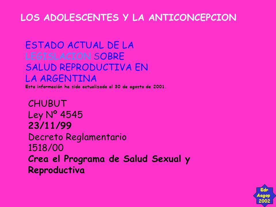 LOS ADOLESCENTES Y LA ANTICONCEPCION Edr Aagop 2002 ESTADO ACTUAL DE LA LEGISLACION SOBRE SALUD REPRODUCTIVA EN LA ARGENTINA Esta información ha sido