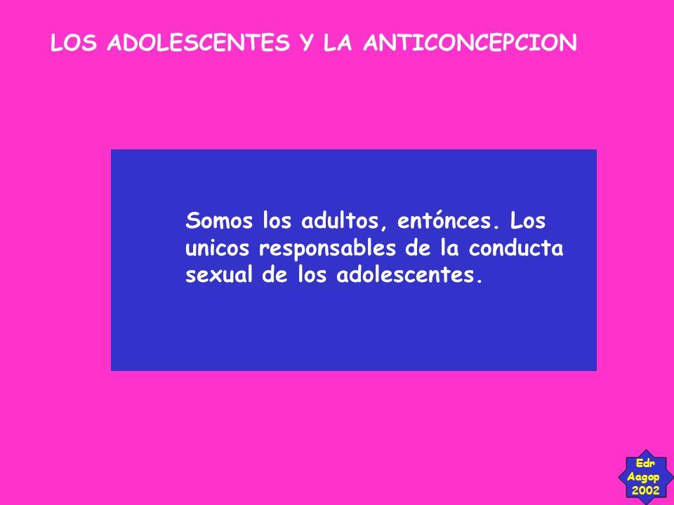 LOS ADOLESCENTES Y LA ANTICONCEPCION Edr Aagop 2002 Somos los adultos, entónces. Los unicos responsables de la conducta sexual de los adolescentes.
