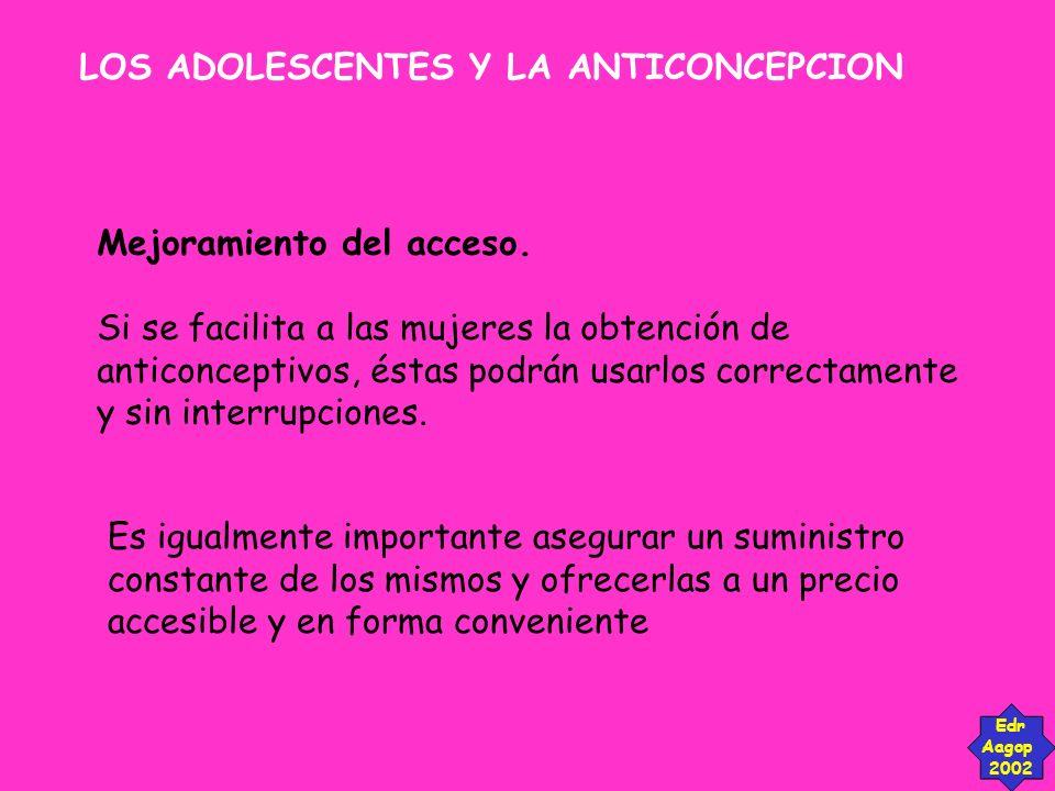 LOS ADOLESCENTES Y LA ANTICONCEPCION Edr Aagop 2002 Mejoramiento del acceso. Si se facilita a las mujeres la obtención de anticonceptivos, éstas podrá
