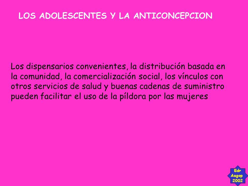 LOS ADOLESCENTES Y LA ANTICONCEPCION Edr Aagop 2002 Los dispensarios convenientes, la distribución basada en la comunidad, la comercialización social,