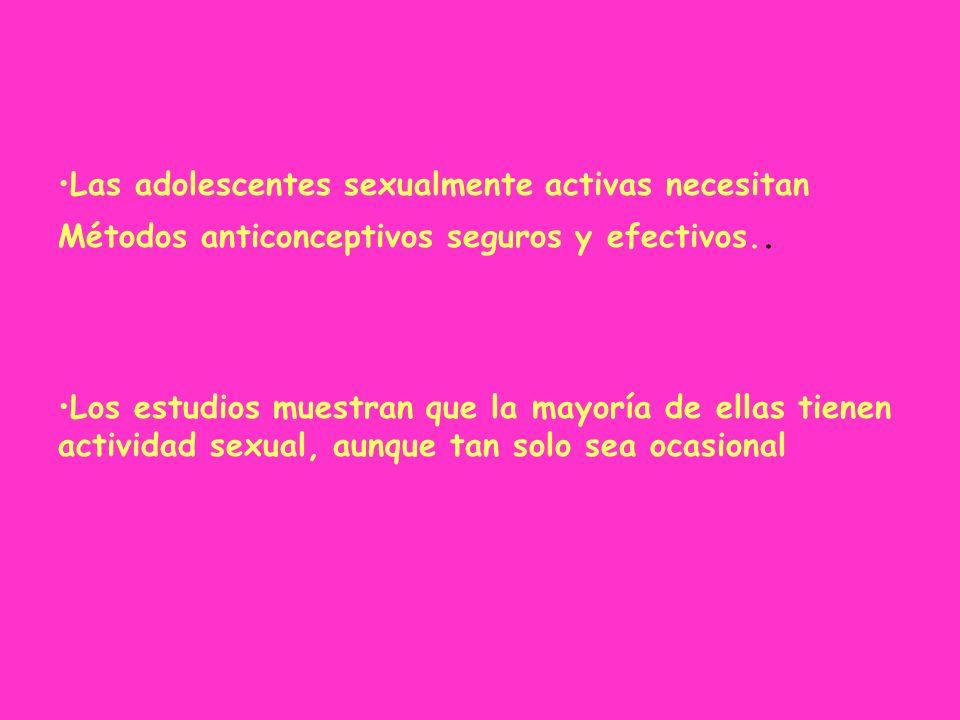 Las adolescentes sexualmente activas necesitan Métodos anticonceptivos seguros y efectivos.. Los estudios muestran que la mayoría de ellas tienen acti