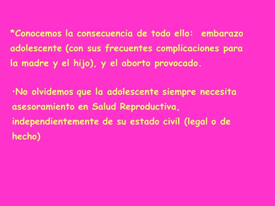 *Conocemos la consecuencia de todo ello: embarazo adolescente (con sus frecuentes complicaciones para la madre y el hijo), y el aborto provocado. No o