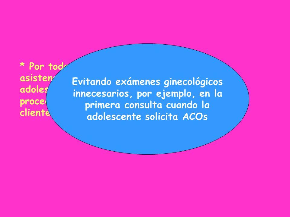 * Por todo ello, los servicios que ofrezcan asistencia en Salud Reproductiva a las adolescentes deberían evitar o post-poner todo procedimiento que pu