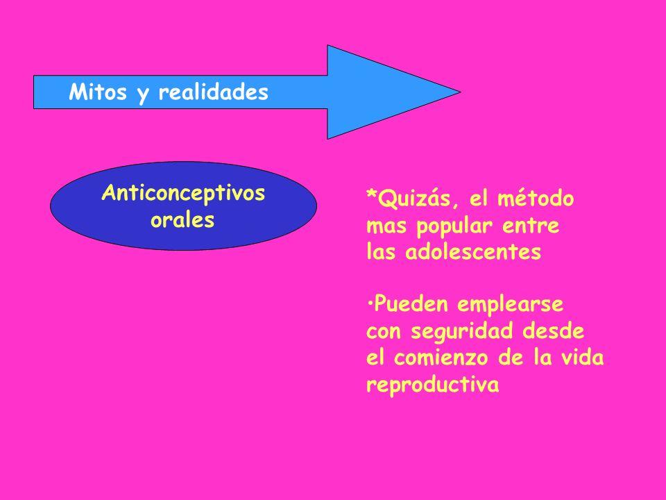 Mitos y realidades Anticonceptivos orales *Quizás, el método mas popular entre las adolescentes Pueden emplearse con seguridad desde el comienzo de la