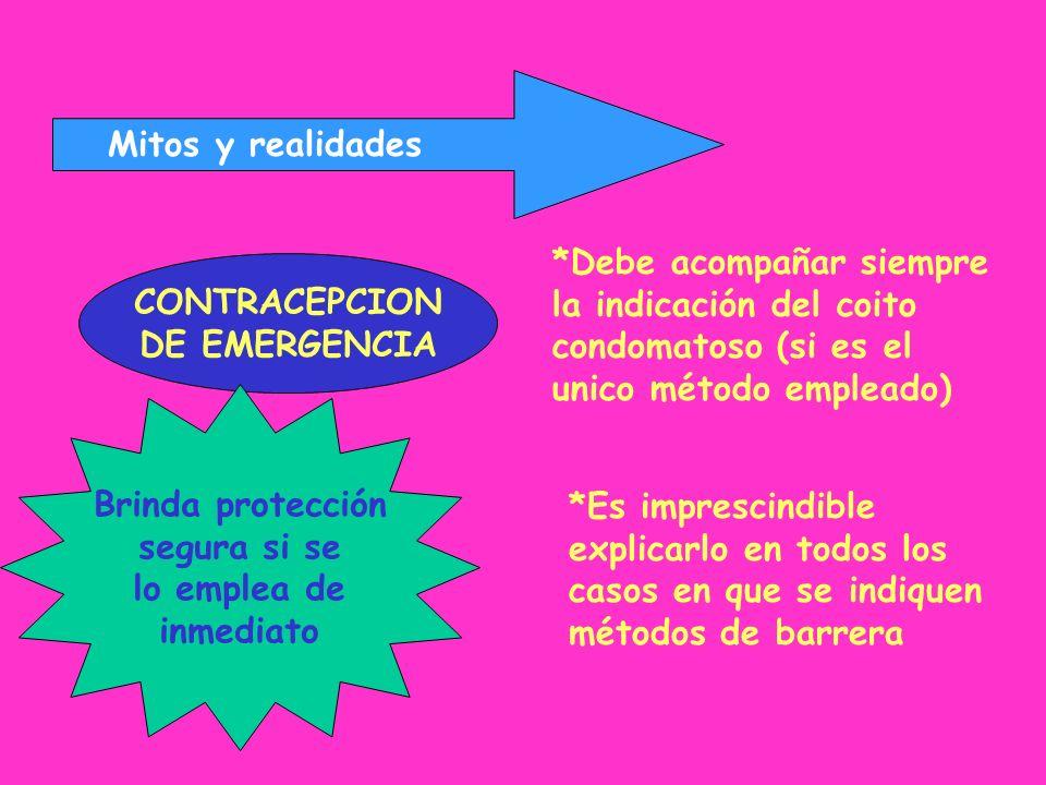 Mitos y realidades CONTRACEPCION DE EMERGENCIA *Debe acompañar siempre la indicación del coito condomatoso (si es el unico método empleado) *Es impres