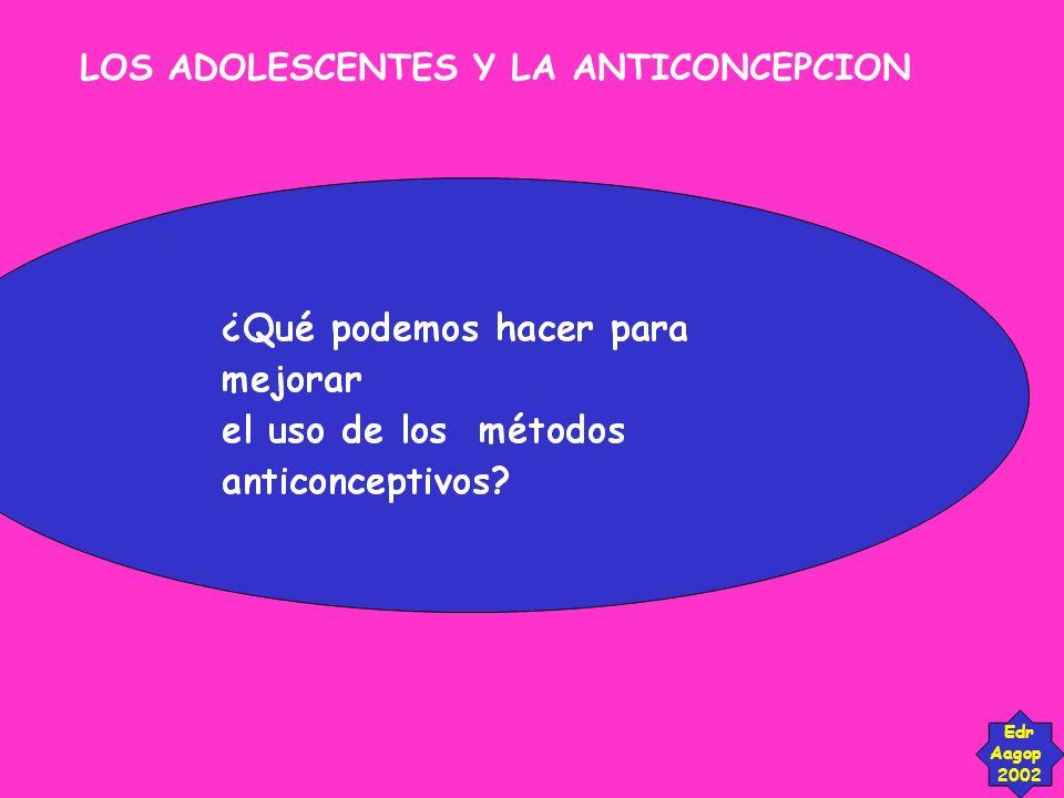LOS ADOLESCENTES Y LA ANTICONCEPCION Edr Aagop 2002 Nuevas directrices, nuevas actitudes.