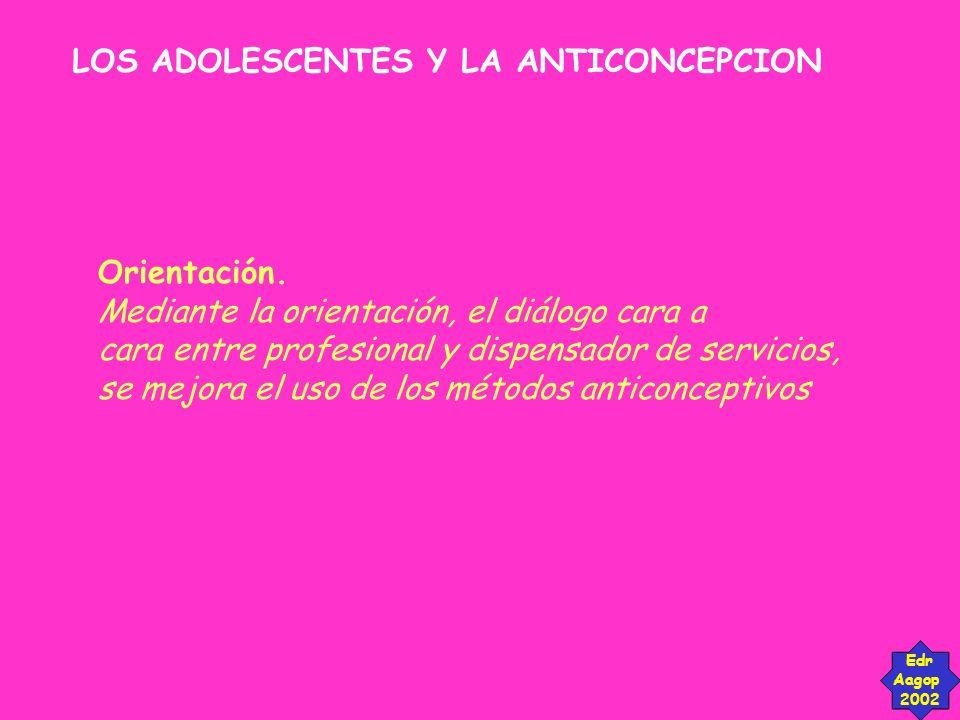 LOS ADOLESCENTES Y LA ANTICONCEPCION Edr Aagop 2002 Orientación. Mediante la orientación, el diálogo cara a cara entre profesional y dispensador de se