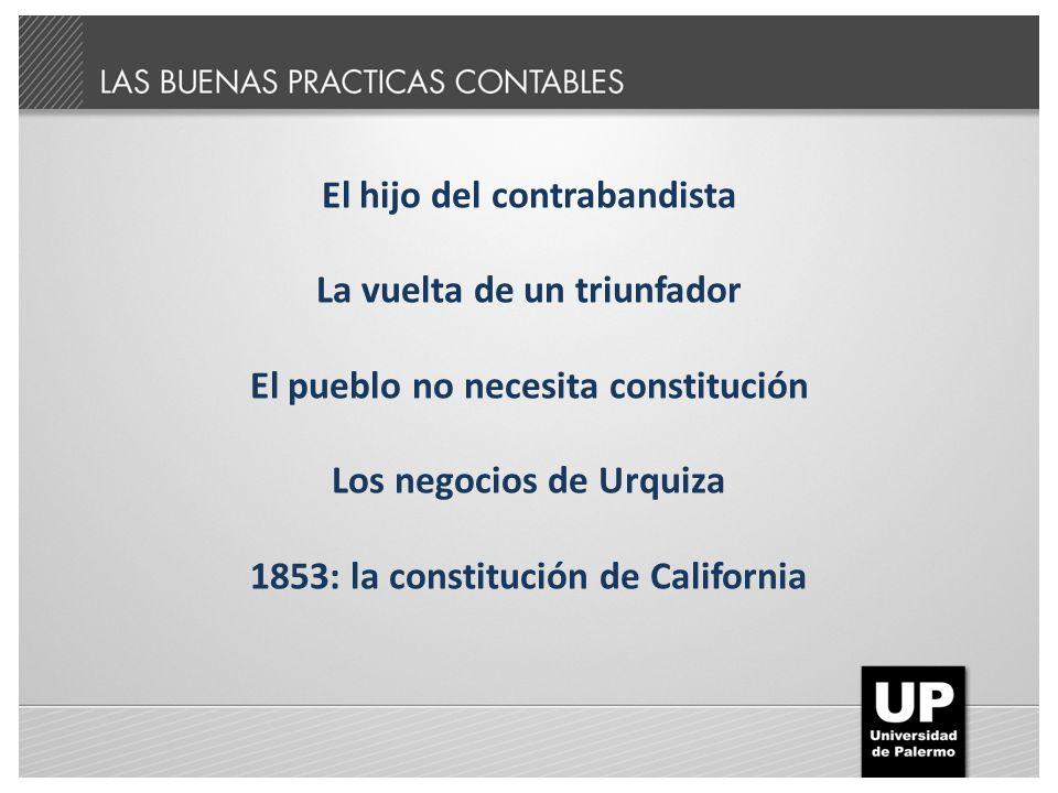 El hijo del contrabandista La vuelta de un triunfador El pueblo no necesita constitución Los negocios de Urquiza 1853: la constitución de California