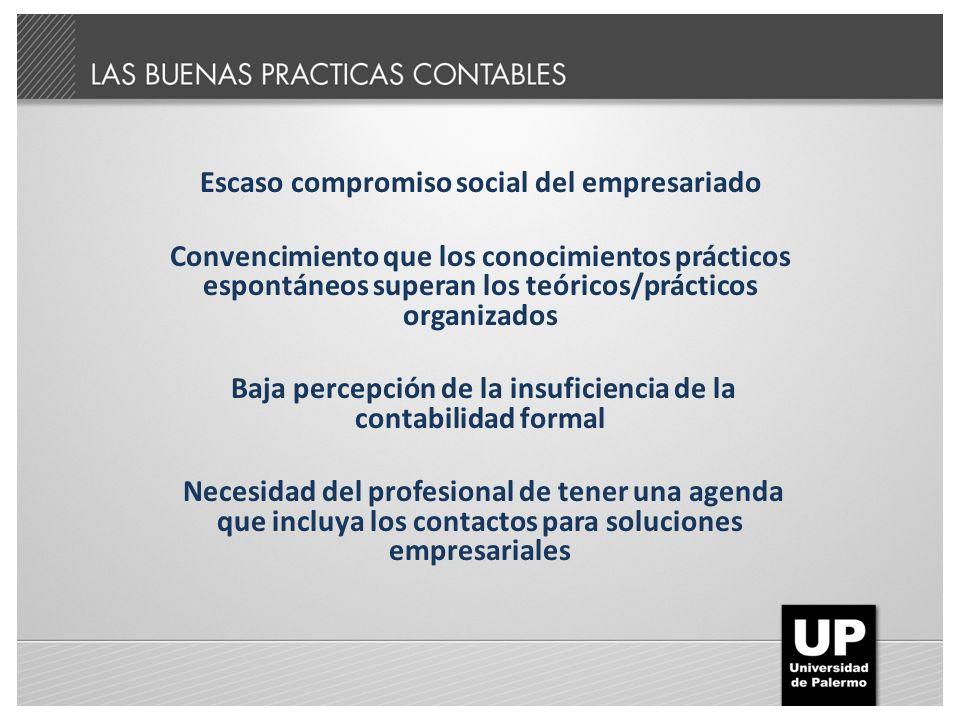 Escaso compromiso social del empresariado Convencimiento que los conocimientos prácticos espontáneos superan los teóricos/prácticos organizados Baja p