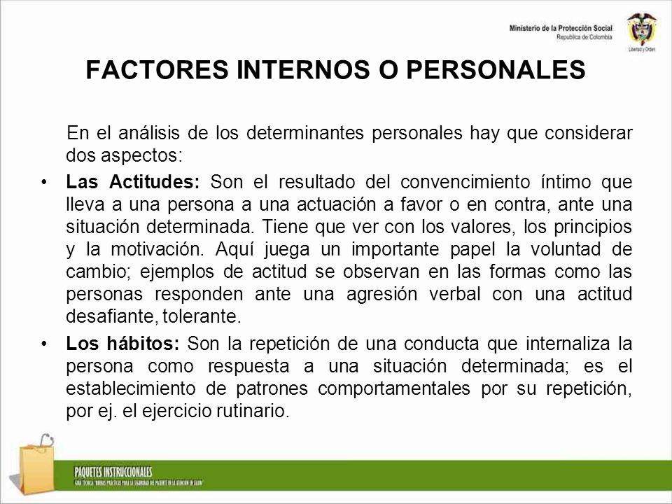 FACTORES INTERNOS O PERSONALES En el análisis de los determinantes personales hay que considerar dos aspectos: Las Actitudes: Son el resultado del con