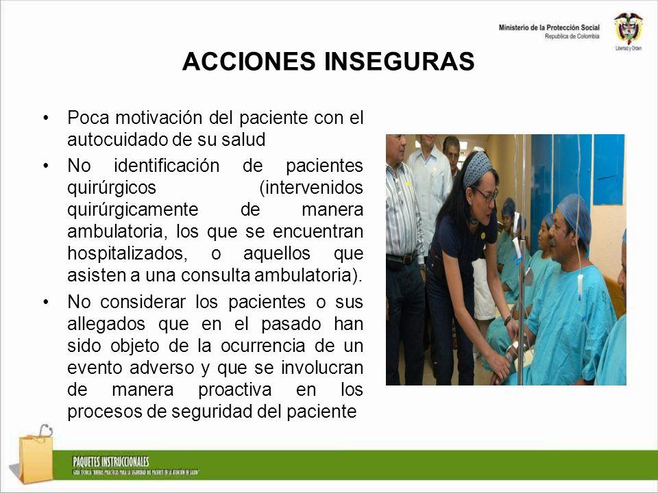 ACCIONES INSEGURAS Poca motivación del paciente con el autocuidado de su salud No identificación de pacientes quirúrgicos (intervenidos quirúrgicament