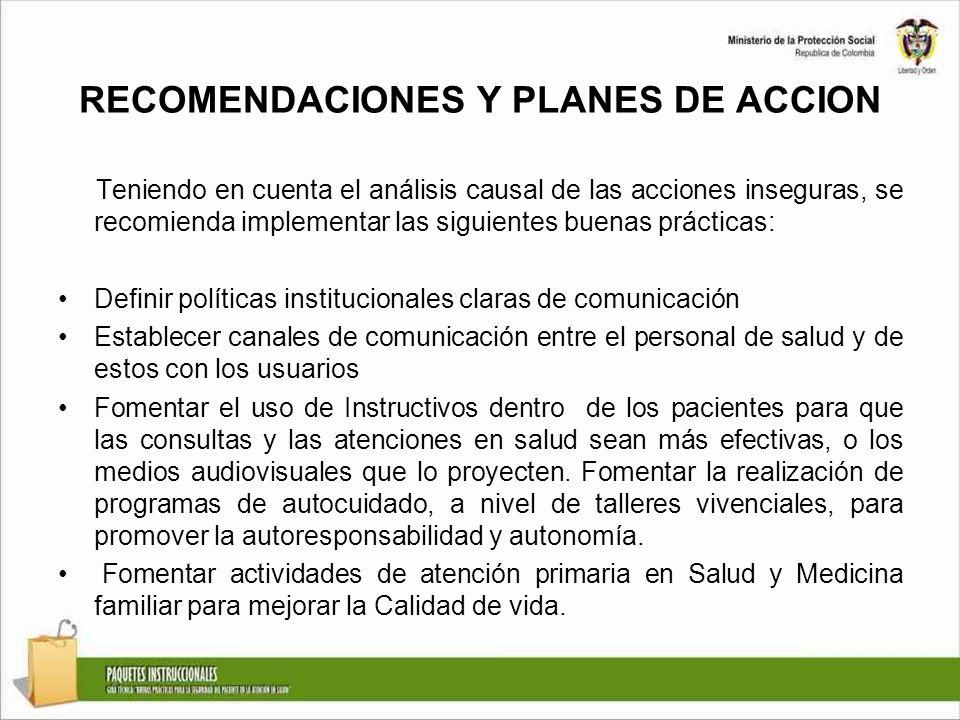 RECOMENDACIONES Y PLANES DE ACCION Teniendo en cuenta el análisis causal de las acciones inseguras, se recomienda implementar las siguientes buenas pr