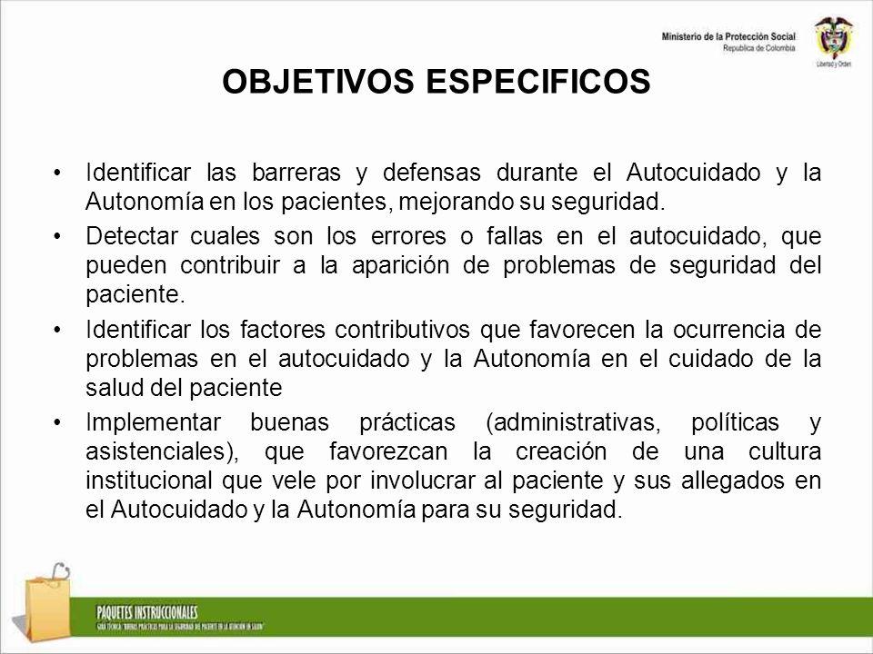 OBJETIVOS ESPECIFICOS Identificar las barreras y defensas durante el Autocuidado y la Autonomía en los pacientes, mejorando su seguridad. Detectar cua