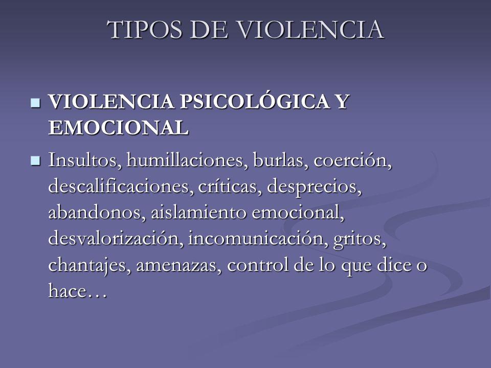 TIPOS DE VIOLENCIA VIOLENCIA PSICOLÓGICA Y EMOCIONAL VIOLENCIA PSICOLÓGICA Y EMOCIONAL Insultos, humillaciones, burlas, coerción, descalificaciones, c