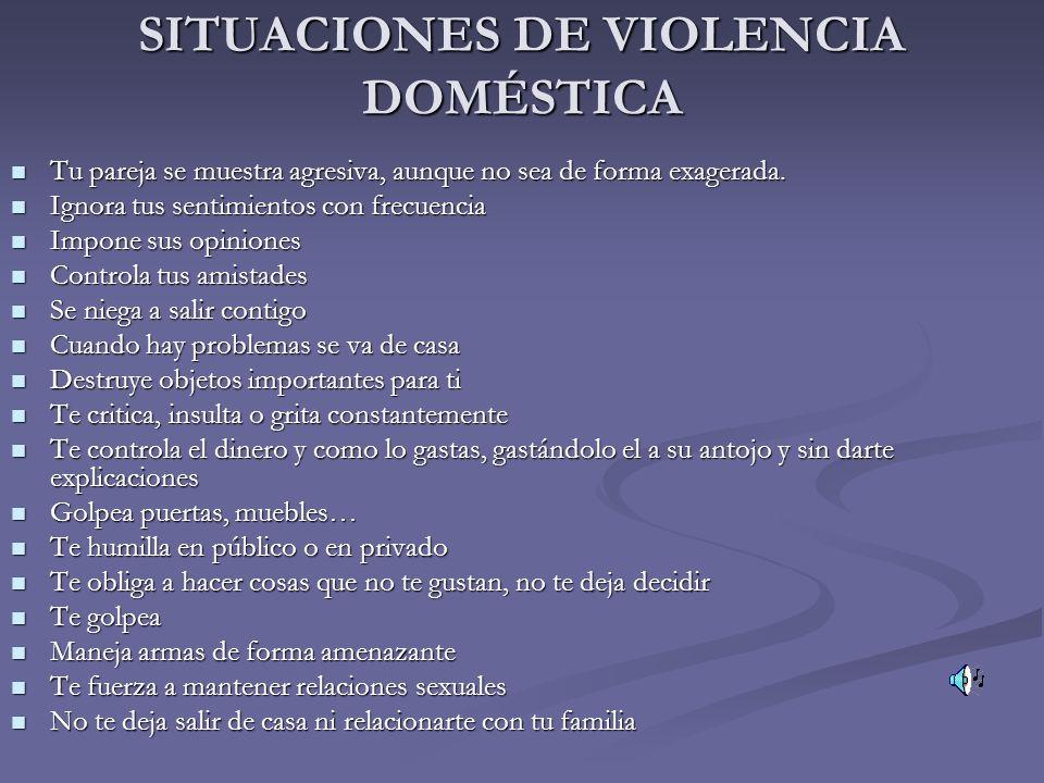 SITUACIONES DE VIOLENCIA DOMÉSTICA Tu pareja se muestra agresiva, aunque no sea de forma exagerada. Tu pareja se muestra agresiva, aunque no sea de fo