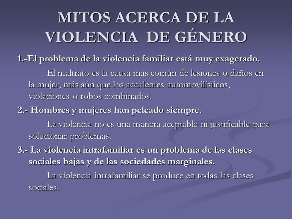 MITOS ACERCA DE LA VIOLENCIA DE GÉNERO 1.-El problema de la violencia familiar está muy exagerado. El maltrato es la causa mas común de lesiones o dañ