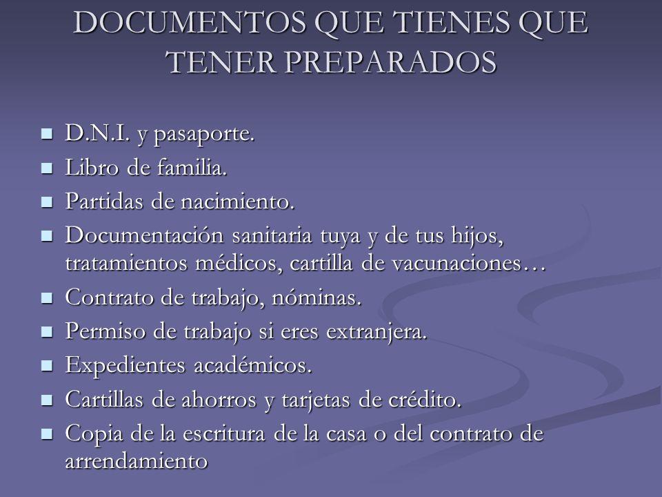 DOCUMENTOS QUE TIENES QUE TENER PREPARADOS D.N.I. y pasaporte. D.N.I. y pasaporte. Libro de familia. Libro de familia. Partidas de nacimiento. Partida