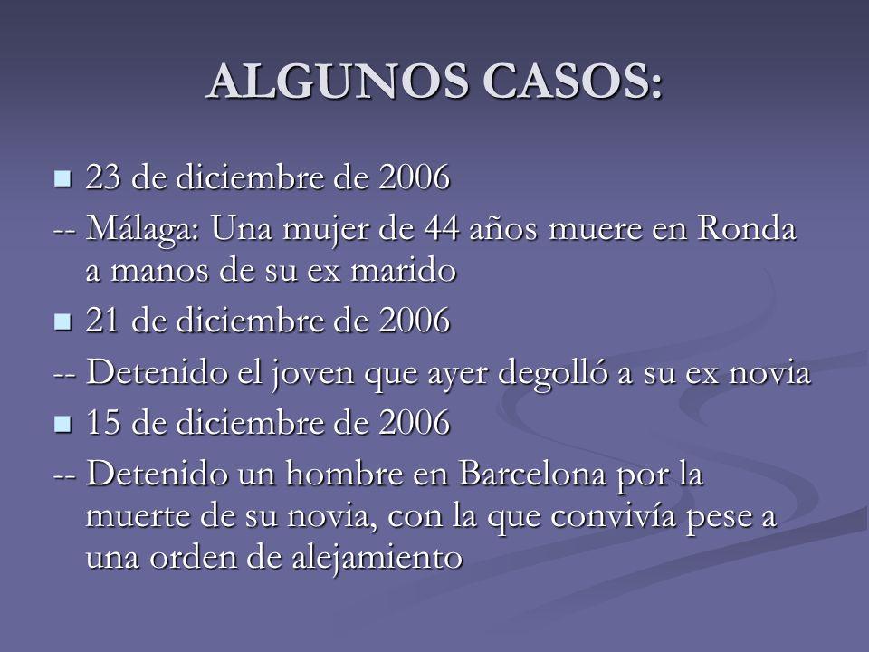 ALGUNOS CASOS: 23 de diciembre de 2006 23 de diciembre de 2006 -- Málaga: Una mujer de 44 años muere en Ronda a manos de su ex marido 21 de diciembre