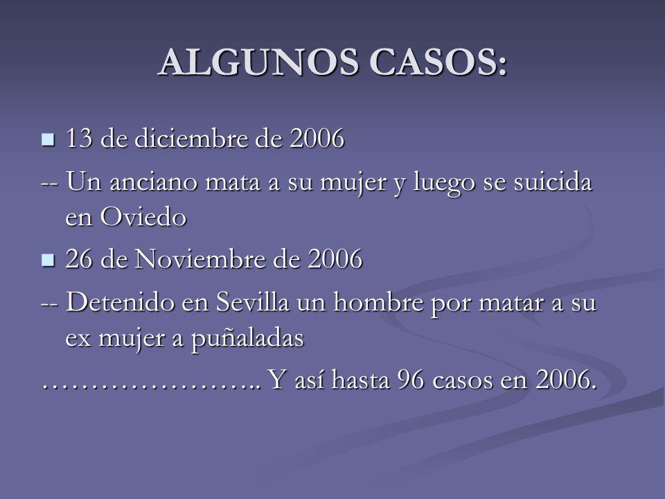 ALGUNOS CASOS: 13 de diciembre de 2006 13 de diciembre de 2006 -- Un anciano mata a su mujer y luego se suicida en Oviedo 26 de Noviembre de 2006 26 d