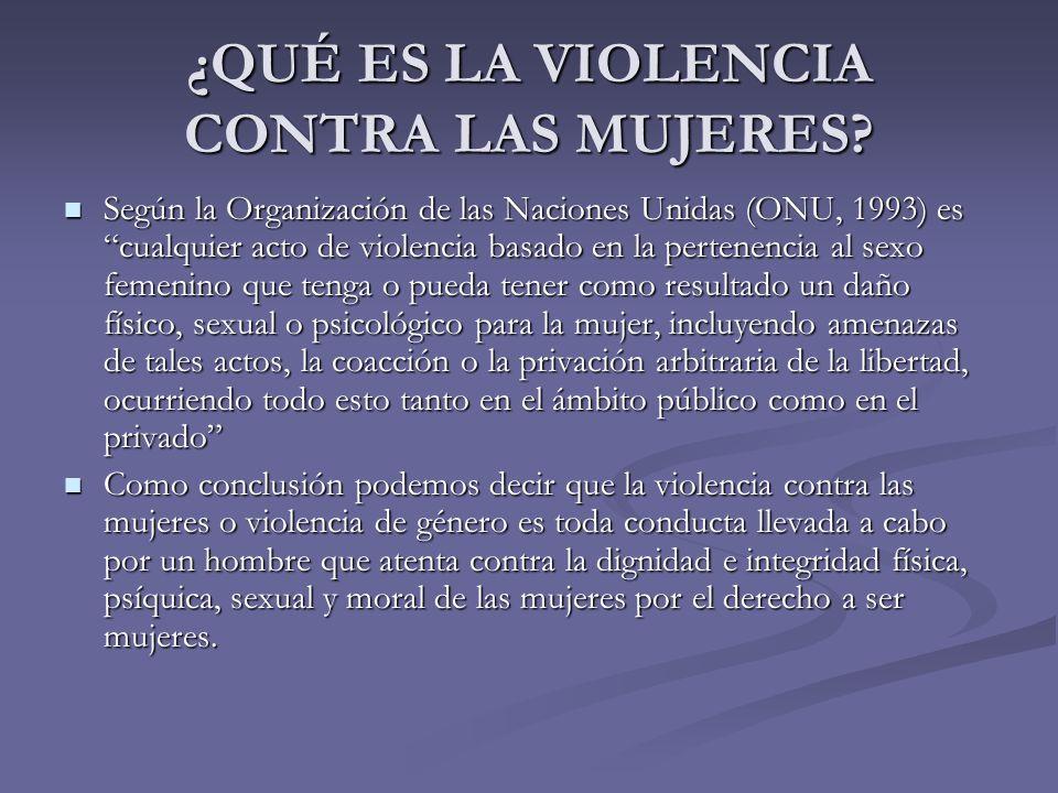 ¿QUÉ ES LA VIOLENCIA CONTRA LAS MUJERES? Según la Organización de las Naciones Unidas (ONU, 1993) es cualquier acto de violencia basado en la pertenen