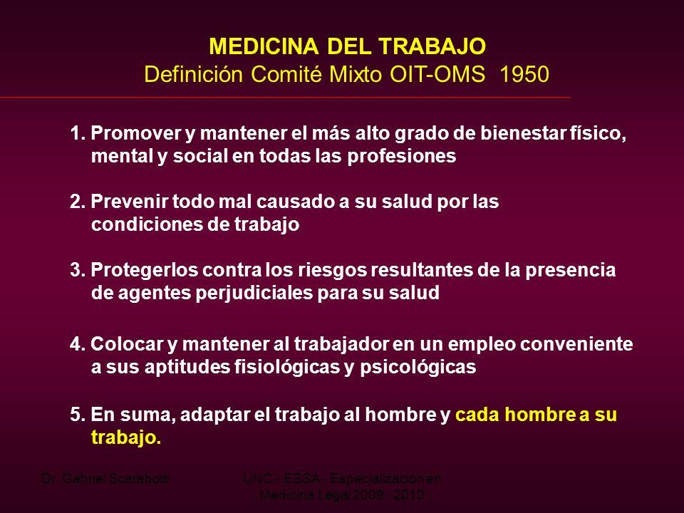 Dr. Gabriel ScarabottiUNC - ESSA - Especialización en Medicina Legal 2009 - 2010 MEDICINA DEL TRABAJO Definición Comité Mixto OIT-OMS 1950 1. Promover