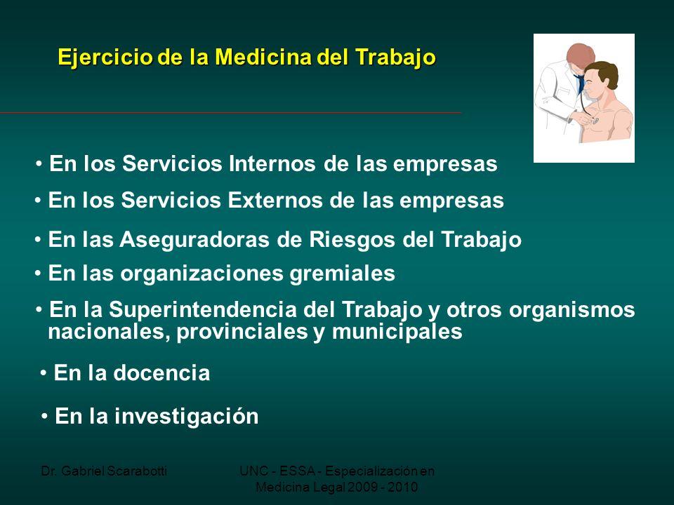 Dr. Gabriel ScarabottiUNC - ESSA - Especialización en Medicina Legal 2009 - 2010 Ejercicio de la Medicina del Trabajo En los Servicios Internos de las