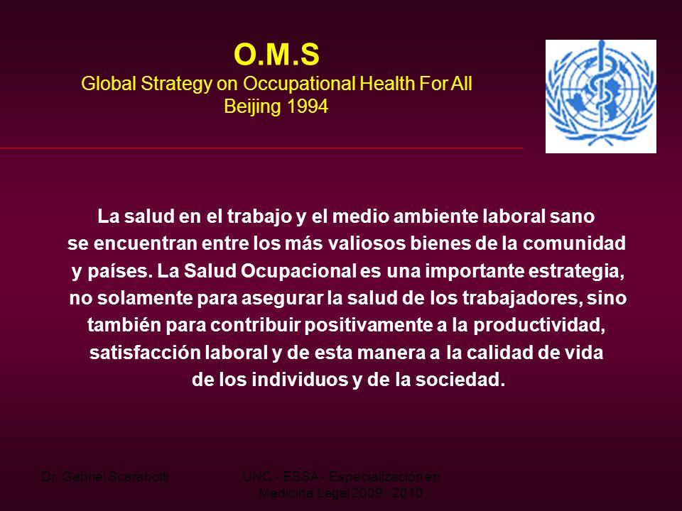 Dr. Gabriel ScarabottiUNC - ESSA - Especialización en Medicina Legal 2009 - 2010 O.M.S Global Strategy on Occupational Health For All Beijing 1994 La