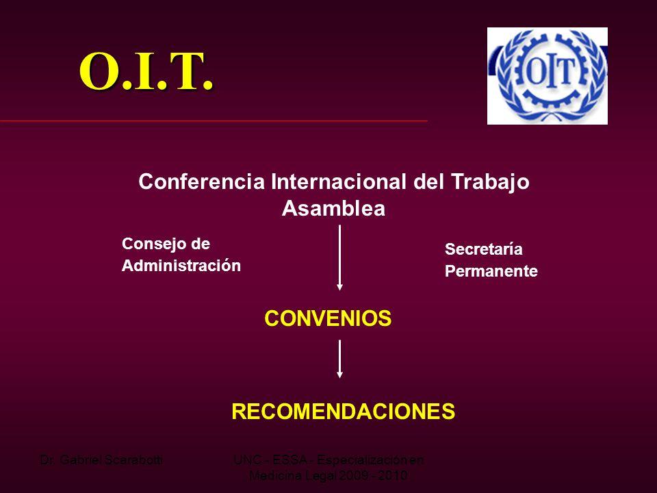 Dr. Gabriel ScarabottiUNC - ESSA - Especialización en Medicina Legal 2009 - 2010 O.I.T. Conferencia Internacional del Trabajo Asamblea Consejo de Admi