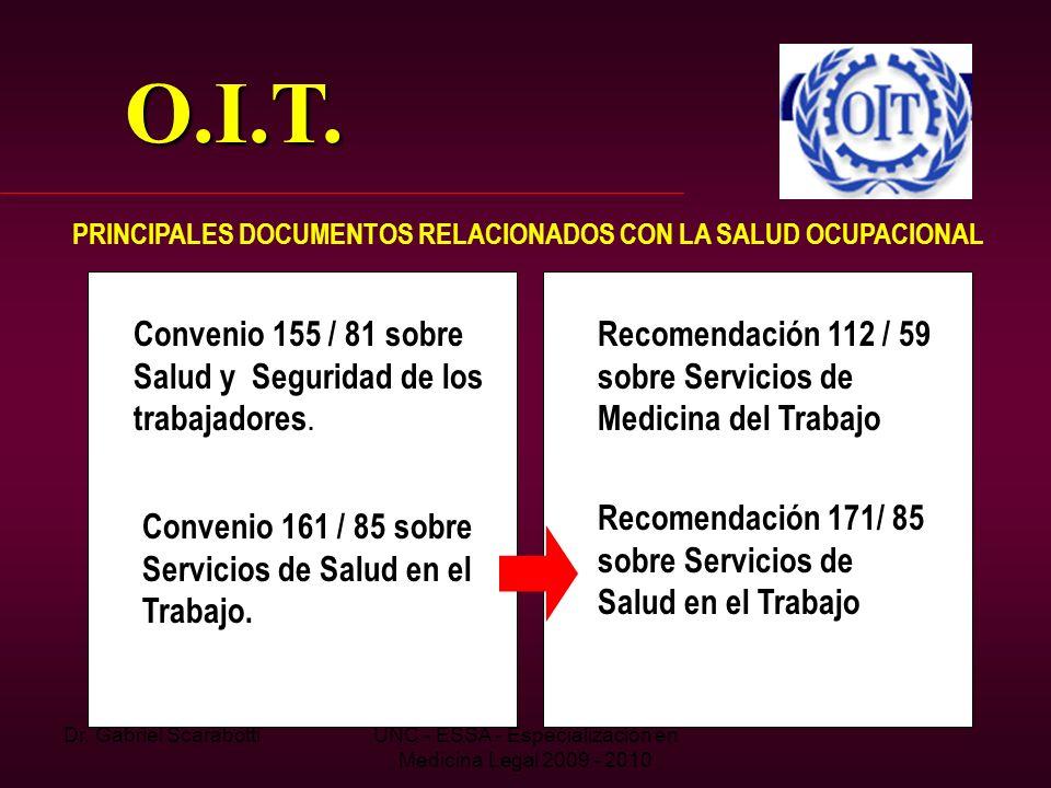 Dr. Gabriel ScarabottiUNC - ESSA - Especialización en Medicina Legal 2009 - 2010 O.I.T. PRINCIPALES DOCUMENTOS RELACIONADOS CON LA SALUD OCUPACIONAL C