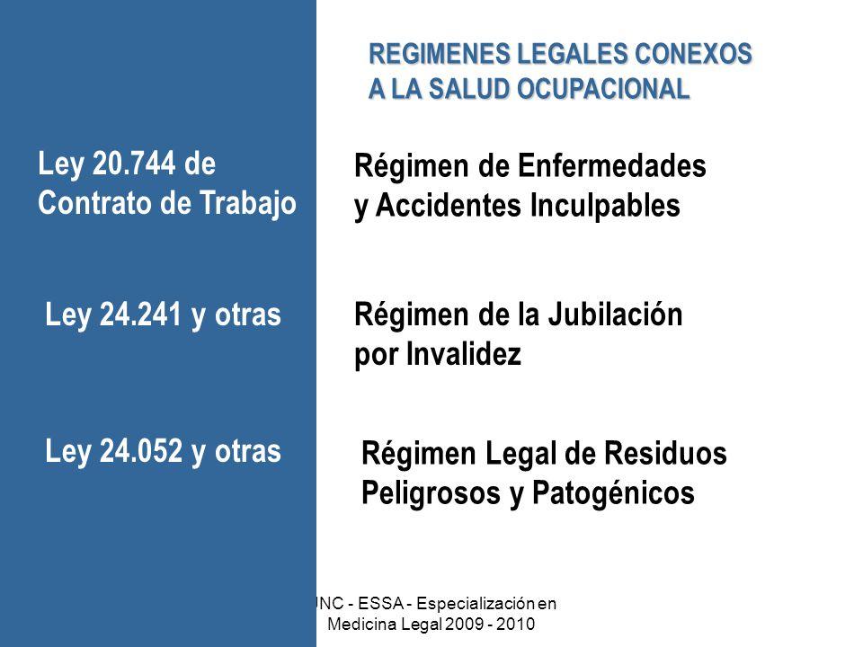 Dr. Gabriel ScarabottiUNC - ESSA - Especialización en Medicina Legal 2009 - 2010 REGIMENES LEGALES CONEXOS A LA SALUD OCUPACIONAL Régimen de Enfermeda