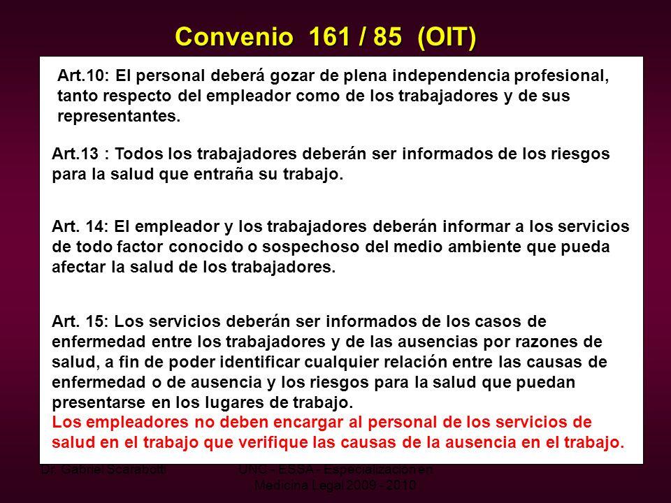 Dr. Gabriel ScarabottiUNC - ESSA - Especialización en Medicina Legal 2009 - 2010 Convenio 161 / 85 (OIT) Art.10: El personal deberá gozar de plena ind
