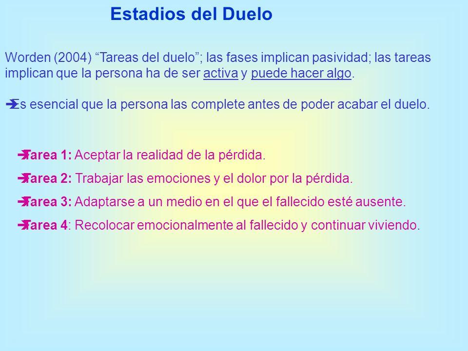 Worden (2004) Tareas del duelo; las fases implican pasividad; las tareas implican que la persona ha de ser activa y puede hacer algo. Es esencial que