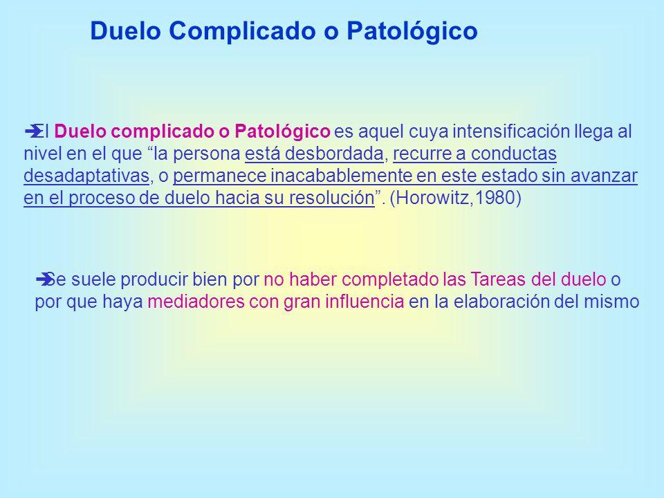El Duelo complicado o Patológico es aquel cuya intensificación llega al nivel en el que la persona está desbordada, recurre a conductas desadaptativas