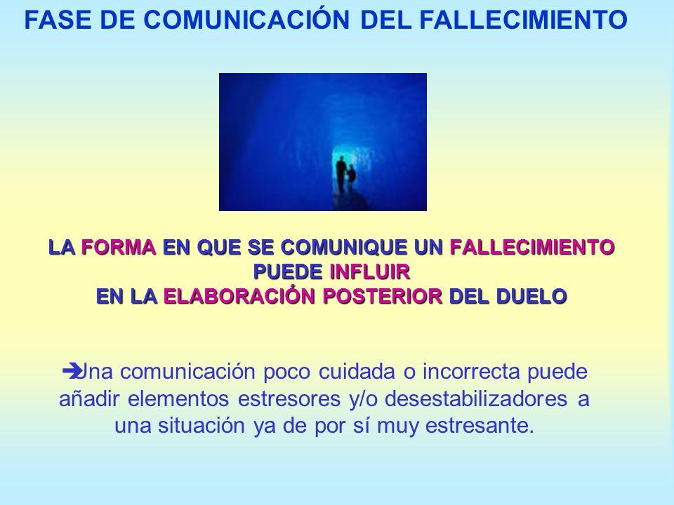FASE DE COMUNICACIÓN DEL FALLECIMIENTO LA FORMA EN QUE SE COMUNIQUE UN FALLECIMIENTO PUEDE INFLUIR EN LA ELABORACIÓN POSTERIOR DEL DUELO Una comunicac