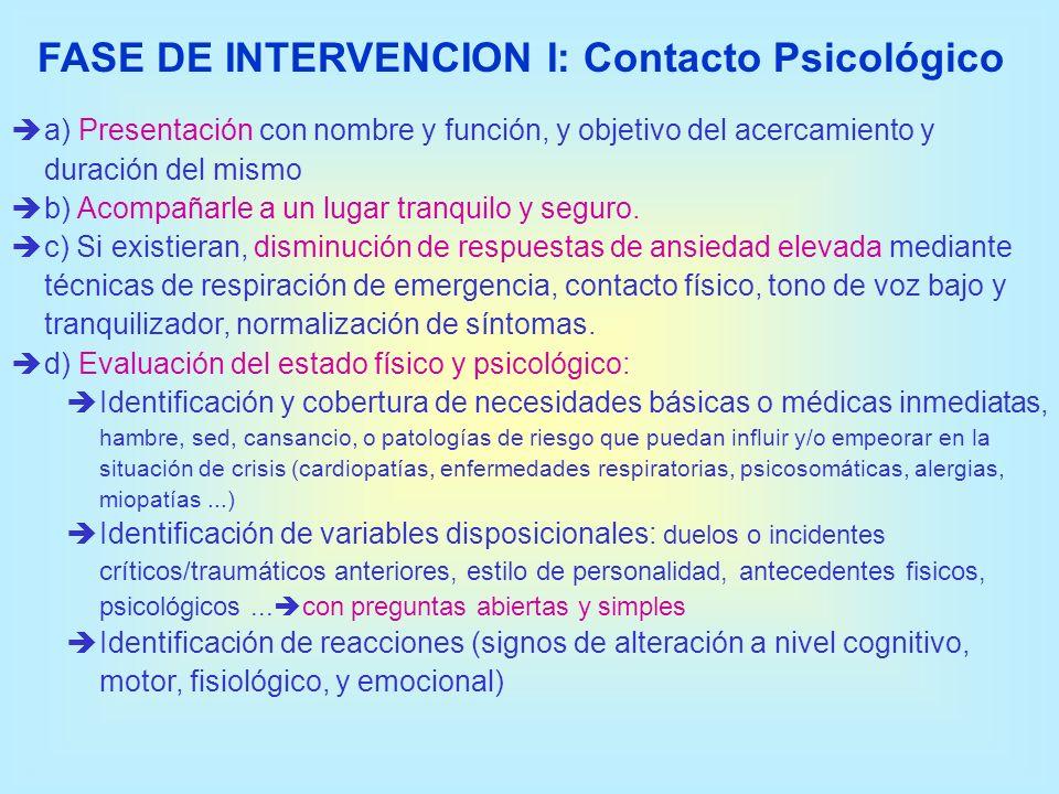 FASE DE INTERVENCION I: Contacto Psicológico a) Presentación con nombre y función, y objetivo del acercamiento y duración del mismo b) Acompañarle a u