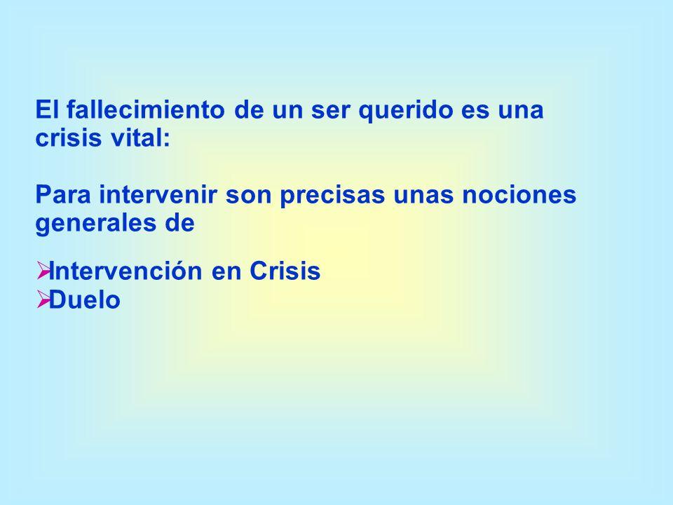 El fallecimiento de un ser querido es una crisis vital: Para intervenir son precisas unas nociones generales de Intervención en Crisis Duelo
